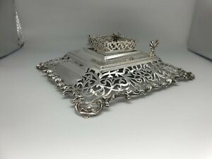 Fine Victorian Solid Silver Ink & Pen Stand George Fox London 1871