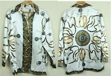 Vintage 90s Womens Blouse Baroque Print Animal Pearls Cheetah 14 L Xl Shirt