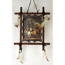 """11""""x 9"""" Riding Horses Indian Dream Catcher Wall Hang Decor Feathers Framed Beads"""