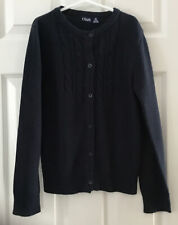 Chaps Girls Dark Navy Blue Size M 8-10 Button Down Long Sleeve Cardigan Sweater