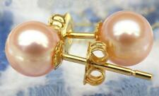 Charming AAA 4.5-5mm real natural Akoya pink round pearl stud earring 14k Gold