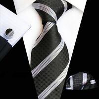 Tie Pocket Square Cufflinks Black Silver Stripe Set 100% Silk Wedding