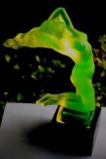 BOHEMIAN ART DECO  VASELINE GLASS CAR MASCOT  - NUDE GIRL ON BLACK PLINTH