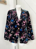Lane Bryant The Bryant Women's Plus Size 16 Black Velvet 1 Button Floral Blazer
