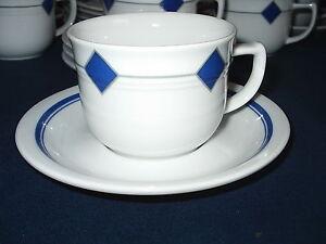 SELTMANN WEIDEN Raute blau geometrisch    KAFFEETASSE + UNTERTASSE