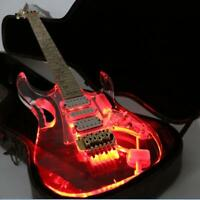 LED Light Electric Guitar Acrylic Body Crystal Guitar Can Control 9kinds Color