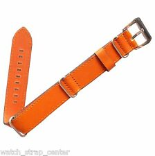 18mm 20mm 24mm Diloy Nato Zulu Leather Watch Strap Band Brown + Spring Bar