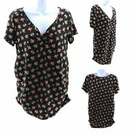 Free Kisses Maternity Top Black with Multi Color Floral Short Sleeve V Neck