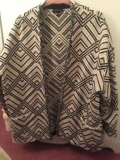 Topshop Ladies Aztec Style Jacket In Black And White Size Medium