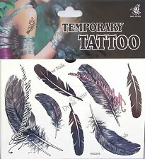 """""""Feathers"""" Temporary Body Tattoo Sheets - Assorted Black"""