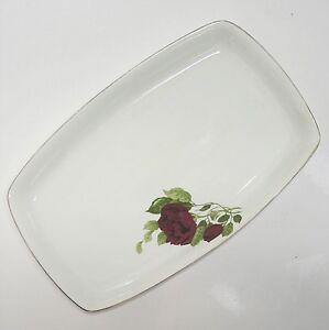 20er Jahre  Fraureuth Fleischplatte Platte Rosenzweig Rose ca. 39 cm