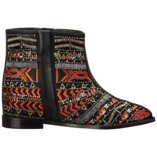 NWB $595 ALICE + OLIVIA Embroidered Beaded Leather black funky Ankle Boots 40