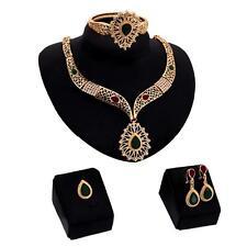 Women Fashion Wedding Party Rhinestone Necklace Ring Bracelet Earrings Set FT