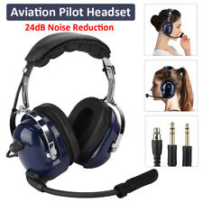 Universal Aviation Headset Pilot Headphone Mic GA Dual Plug 24dB Noise Reduction