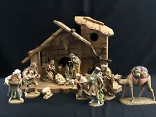 ~*~14 Pc Wood-carved Lepi 5� Nativity Set from Italy — Anri Style~*~