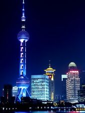SHANGHAI NIGHT CITYSCAPE POSTER STYLE D 36x27 HI RES