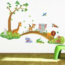 Kids Bedroom Wall Sticker 3D Cartoon Jungle Wild Animal Flowers Wall Sticker
