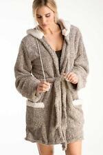 New PJ SALVAGE Taupe Cozy White Fleece Hooded Robe Pom Pom Plush Soft M