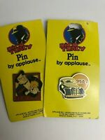 2 Vintage Dick Tracy Detective Enamel Pin Button - 90's Disney Applause New