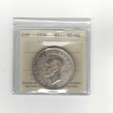**1939**, ICCS Graded Canadian Silver Dollar **MS-64**