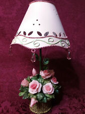 Home Interiors Pink Mauve Rose Basket Candle Shade Lamp/Nib/ Gift Victorian