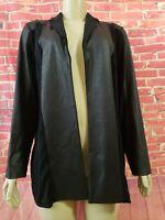 CHICO'S TRAVELERS VEGAN leather trim Black open Women' Cardigan Jacket  Sz 2 (L)