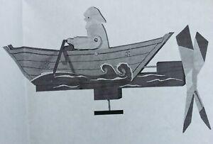 ROWING MAN IN BOAT whirlygig whirligig garden wind toy copy plans SEA MAN GIFT