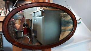 Antique Victorian old oak oval wall mirror 75cm x 45cm