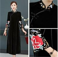 Chinese Velvet Embroidery QiPao Women Long Evening Dress Retro Cocktail Outwears