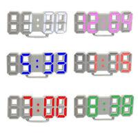 Modern Digital 3D LED Wall Clock Alarm Clock Snooze 12/24 Hour Display USB NEW k