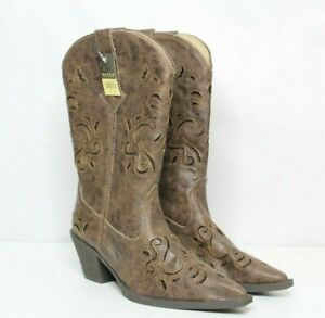 Roper Women's Boot Vintage Faux Leather Glittery Inlay Cowgirl Snip Toe size 8.5