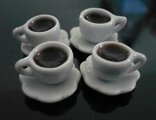 4 Cups of Dark Coffee Dollhouse Miniatures Food Supply Deco