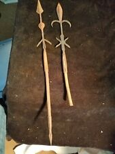 """2 Vintage Small Wrought Iron Decorative Spears 21"""" 2 ended 16"""" One Broken End"""