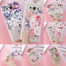 For Samsung S9/8 A3 A5 J7 C9 Cute Rubber Soft Silicone Pattern Flower Case Cover