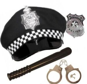 Adult Policeman Police Officer Panda Hat Handcuffs Badge Truncheon Fancy Outfit