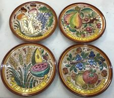 Deruta pottery:4 Plates Of 10,1/4 Inch-4 Season.Made/Painted by hand in Italy