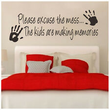 Please Excuse the Mess Kids Mural Wall Quote Inspiration Words Decals DIY Vinyl
