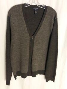 Banana Republic L Brown Merino Wool Cardigan Sweater Zip up