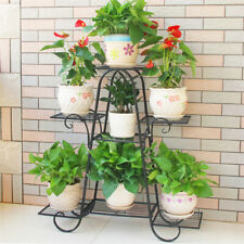 7 Pots Thick Iron Plant Stand Planter Shelf Rack Garden Hotel Commercial Display