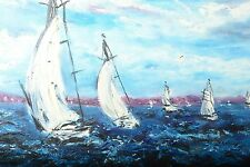 Palmer Hayden Oil Painting of Sailboats & The Sea