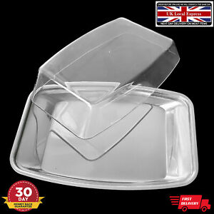 Butter Dish Box Holder Clear Plastic Lid Table Serving Dishes Stainless Steel