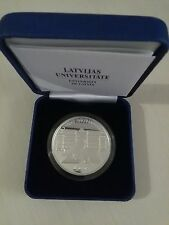 UNIVERSITY OF LATVIA silver OWL coin 1 lats 2009+BOX+CERTIFICATE Lettland Silber