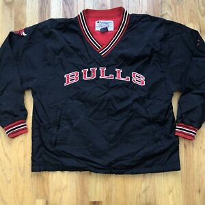 Men's Vintage 90's Champion Chicago Bulls Black Pullover Windbreker Jacket Sz L