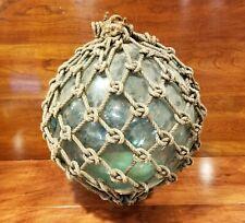 "Vintage Japanese Large 12"" Blue Blown Glass Fishing Float w/ Original Rope"