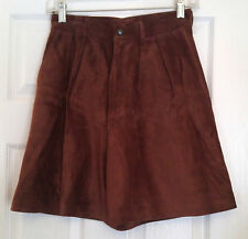 Bushwacker Size 6 Genuine Leather Shorts Brown Suede High Waisted Made in USA