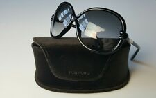 TOM FORD WOMEN'S SONJA TF 185 01B GLOSS BLACK GOLD SUNGLASSES MADE IN ITALY