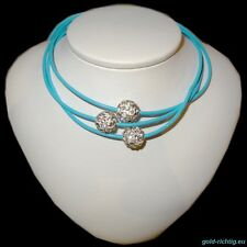 Shamballa Lederkette türkis (Halskette Leder Kette Silber Geschenk) NEU