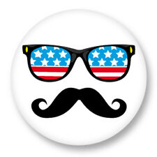 """Pin Button Badge Ø25mm 1"""" Smiley Mustach Moustache Vintage Hipster Style"""
