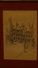 """EXQUISITE C.M. GOFF ETCHING """"BEACON HILL""""  BOSTON SIGNED  GOFF,FRAMED , GLASS"""