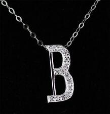 Sterling Silver 925 & CZ Initial Letter B Pendant Necklace jewellery 18""